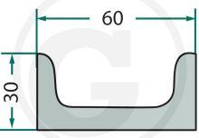 Hřeblová lišta na rozmetadlo hnoje Heywang U-profil 25 x 50 vypouklý délka 1670 mm