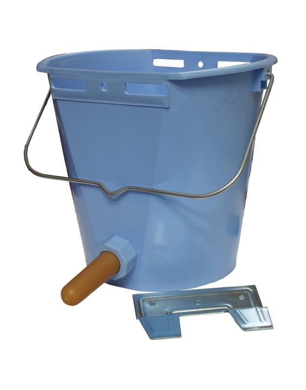 Napájecí kbelík TETI Blue pro telata komplet s ventilem, cucákem a kovovým držákem