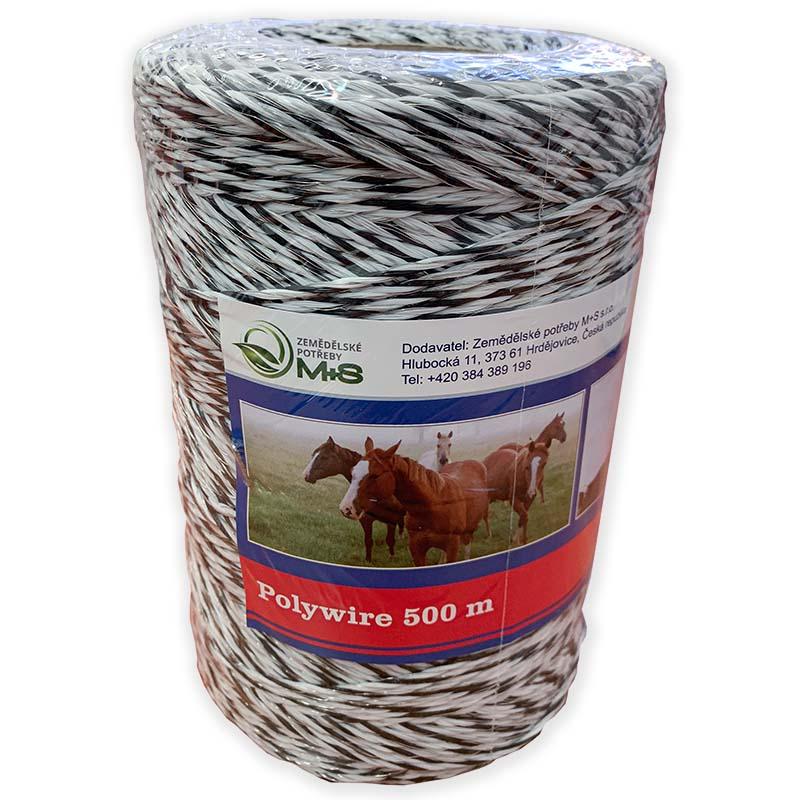Ohradníkové lanko ProfiLine M+S 3 mm/500 m polyetylénové černo-bílé 0,4 Ohm/m