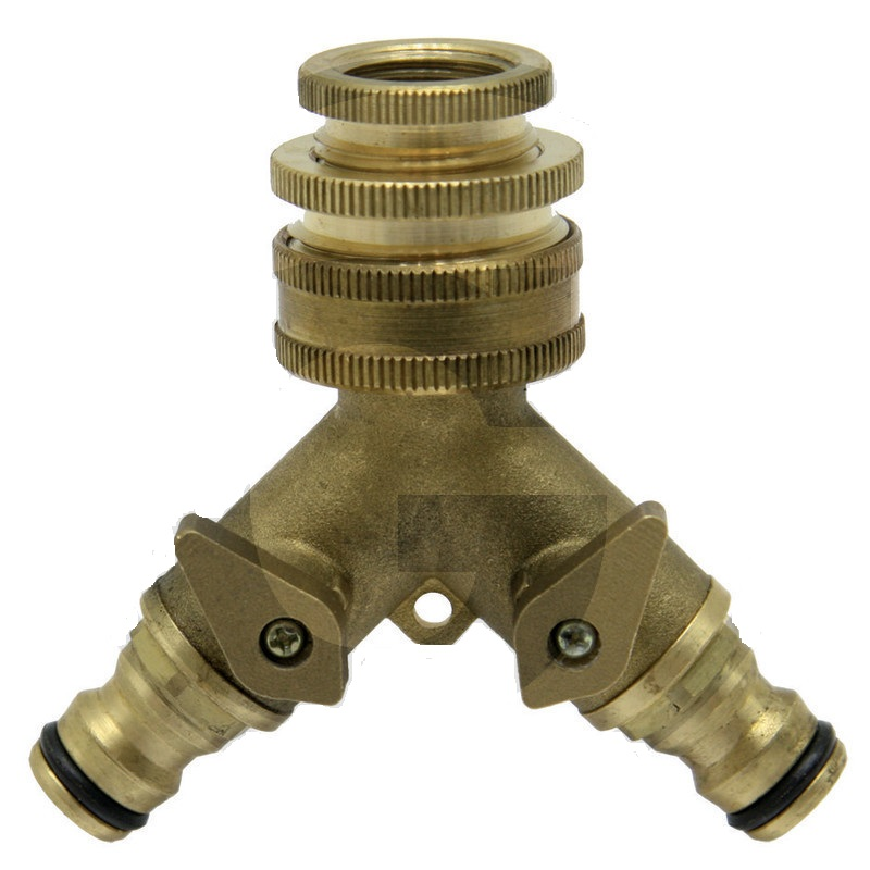 Mosazný hadicový ventil 3-cestný pro připojení 2 zahradních hadic ke kohoutu 3/4″