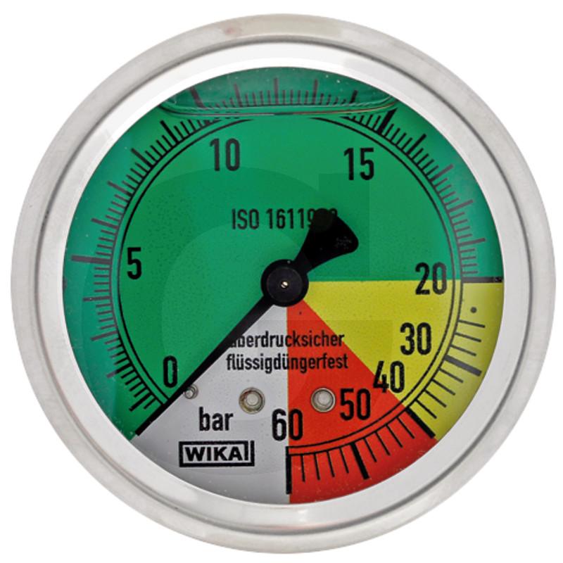 Glycerinový tlakoměr, manometr Wika přípoj 1/4″ zpět průměr 63 mm pro postřikovače 0-60