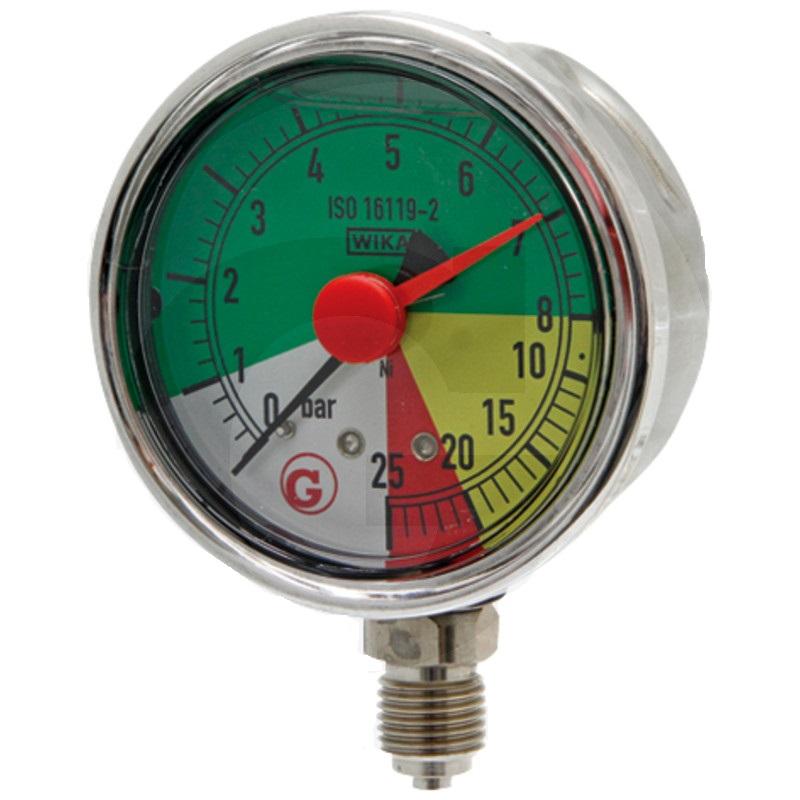 Glycerinový tlakoměr, manometr Wika přípoj 1/4″ spodní průměr 63mm pro postřikovače 0-8-25