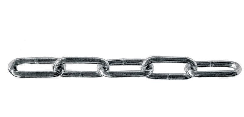Nerezový řetěz DIN 763 rovné dlouhé články INOX V4A metráž