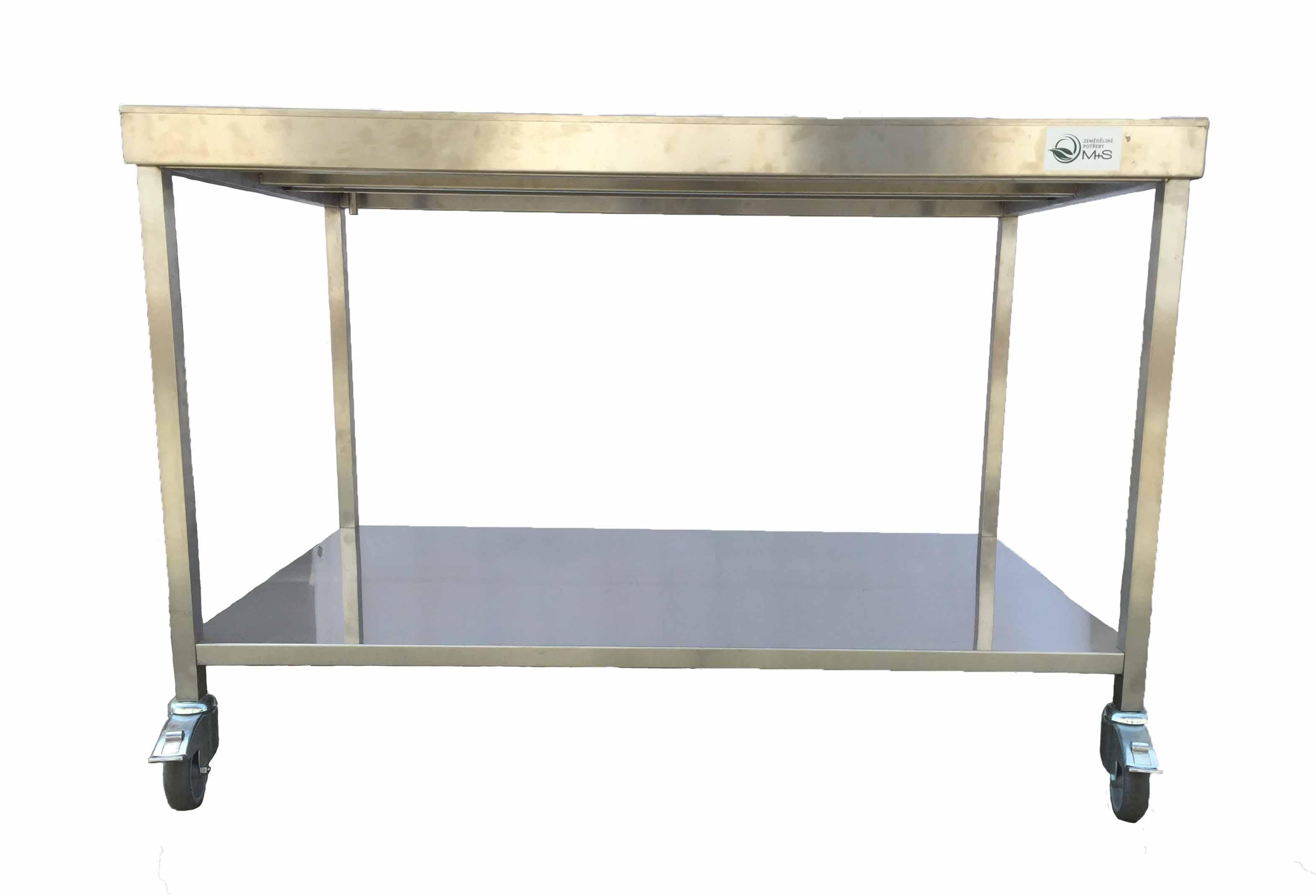 Sýrařský stůl 130 x 80 x 85 s odtokem, policí a pojezdem, nerez AiSi 304