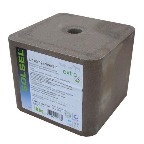Solný minerální liz BIO Solsel Extra pro koně a dobytek kostka 10 kg
