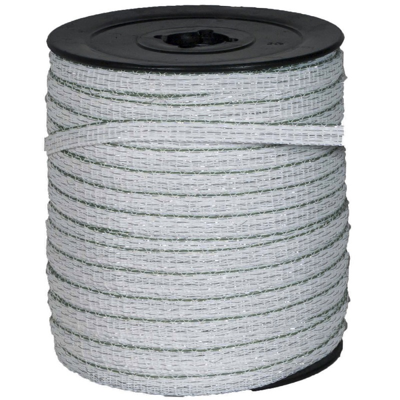 Zeleno-bílá ohradníková páska OLLI BASIC line 20 mm/200 m odpor 3,8 Ohm/m
