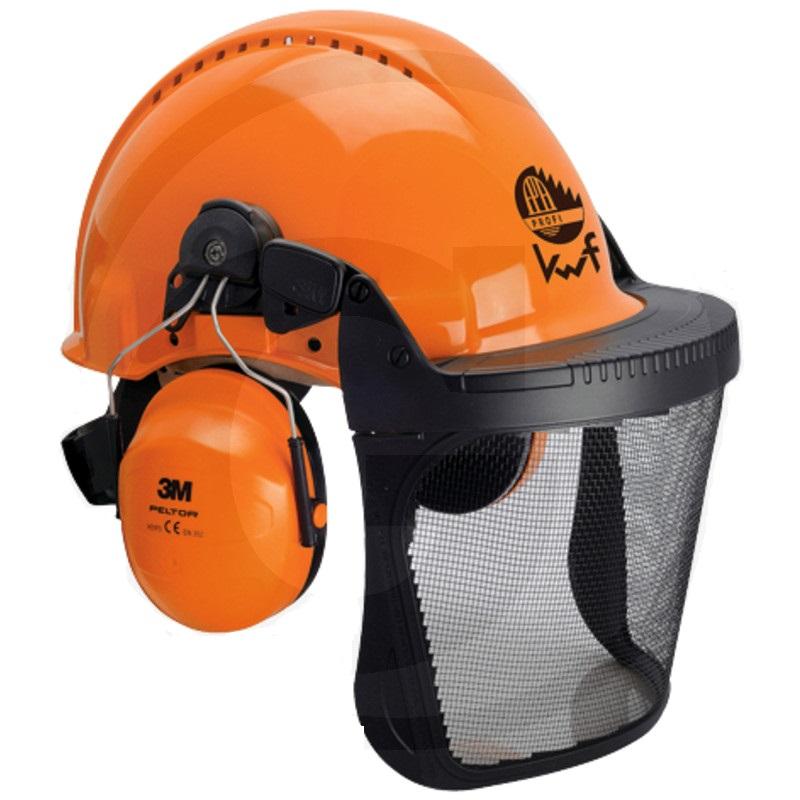 Dřevorubecká helma Peltor G3000d UVICATOR v kombinaci se sluchátky a ochranným štítem