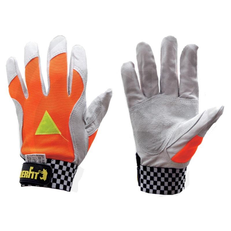 Lesnické rukavice Keiler Fit Orange z kozinky barva oranžová – šedá