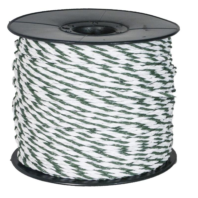 Ohradníkové lanko Olli BASIC Line 5 mm/200 m polyetylenové zeleno-bílé odpor 7,77 Ohm/m