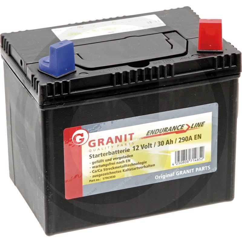 Autobaterie 12V 30Ah Granit bezúdržbová do zahradních sekaček startovací proud 330A, 0
