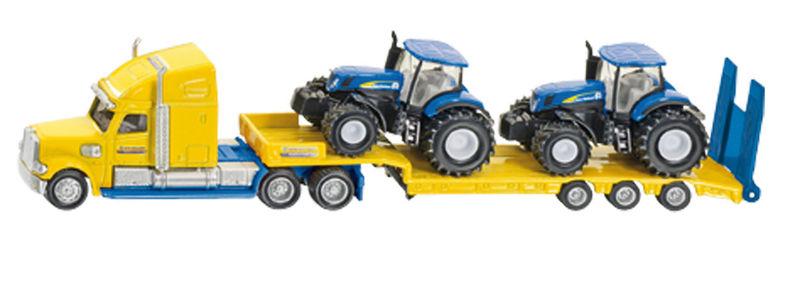 Siku – kamion se dvěma traktory New Holland žlutomodrý 1:87