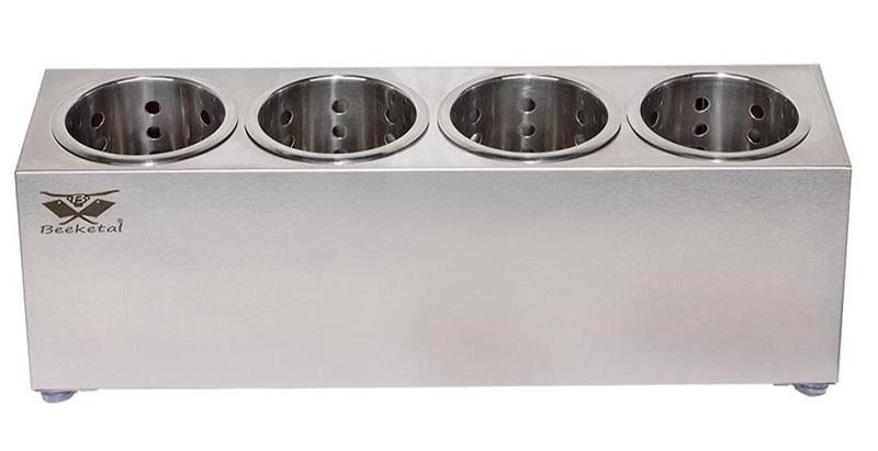 Nerezový zásobník na příbory Beeketal BBK-4 gastro stojan se 4 koši
