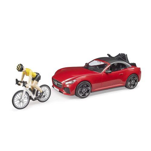 Bruder - Sportovní automobil s kolem a cyklistkou