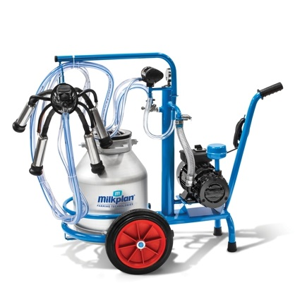 Mobilní konvové dojící zařízení Milkplan pro dojení krav s vozíkem s vývěvou 220 l/min