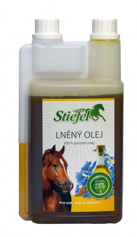 Stiefel lněný olej lisovaný za studena pro koně pro zdravou kůži a zažívání, objem 1l