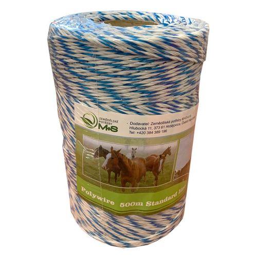 Ohradníkové lanko Standard line 3 mm/500 m polyetylénové modro-bílé 3,8 Ohm/m