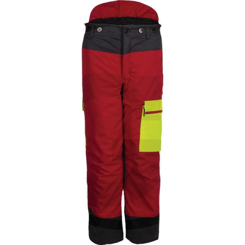Dřevorubecké kalhoty FOREST JACK RED s ochranou proti proříznutí