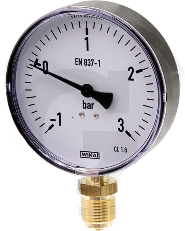 Vakuový tlakoměr, manometr Wika pro fekální vozy přípoj dolní 1/2″
