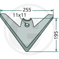 Šípová radlice pro Kompaktor Lemken 255 x 5 mm