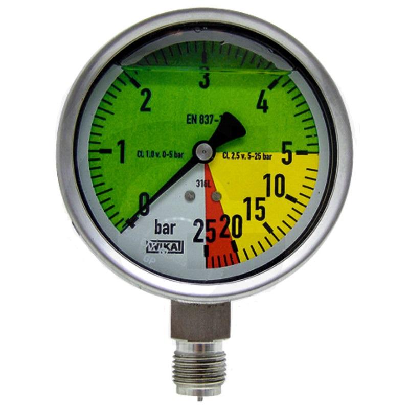 Glycerinový tlakoměr, manometr Wika přípoj 1/2″ spodní průměr 100 mm pro postřikovače 0-25